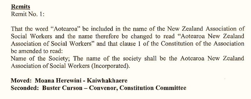 Extract from the minute of the ANZASW AGM held in Wellington on the 16th of October, 1999.