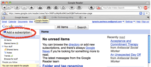 Step 4a: Go to Google Reader