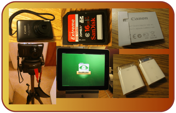A picture of a camera, tri-pod, SD card, iPad, battery, and iPad Camera Connector
