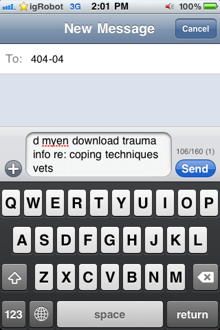SMS that states: d myen download trauma into re: coping techniques vents