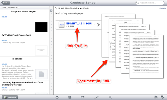 Linking to Files, the Files found in a note
