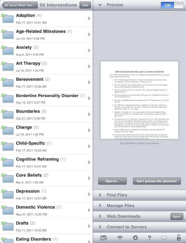 A list of file-folders synced via Dropbox