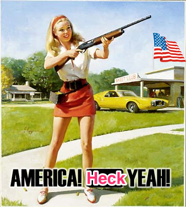 A picture of a young woman holding a shotgun, epitomizing America