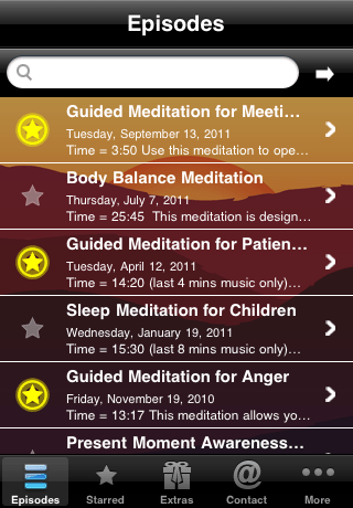 Various Meditations listed on the app