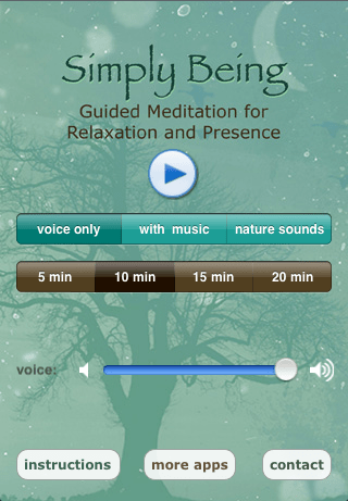 Various settings to set your sounds, meditation length, and volume