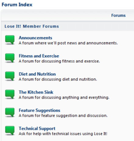 Various forum titles listed for Lose It! members