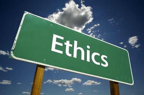"Roadsign that says ""Ethics"""