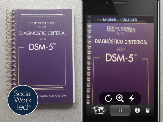 A picture of DSM 5 cover and translation to Spanish