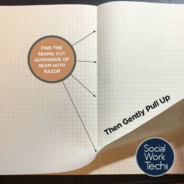 "Picture of an Evernote Moleskine notebook turned to a page where binding seams are present. Text: ""Find the seams, cut alongside of the seam with a razor"". At the bottom of the turning page, ""Then gently pull up""."