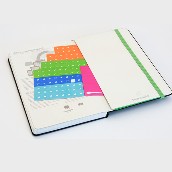 A picture of the back cover of the Moleskine planner where there is a pocket with Smart Stickers coming out.
