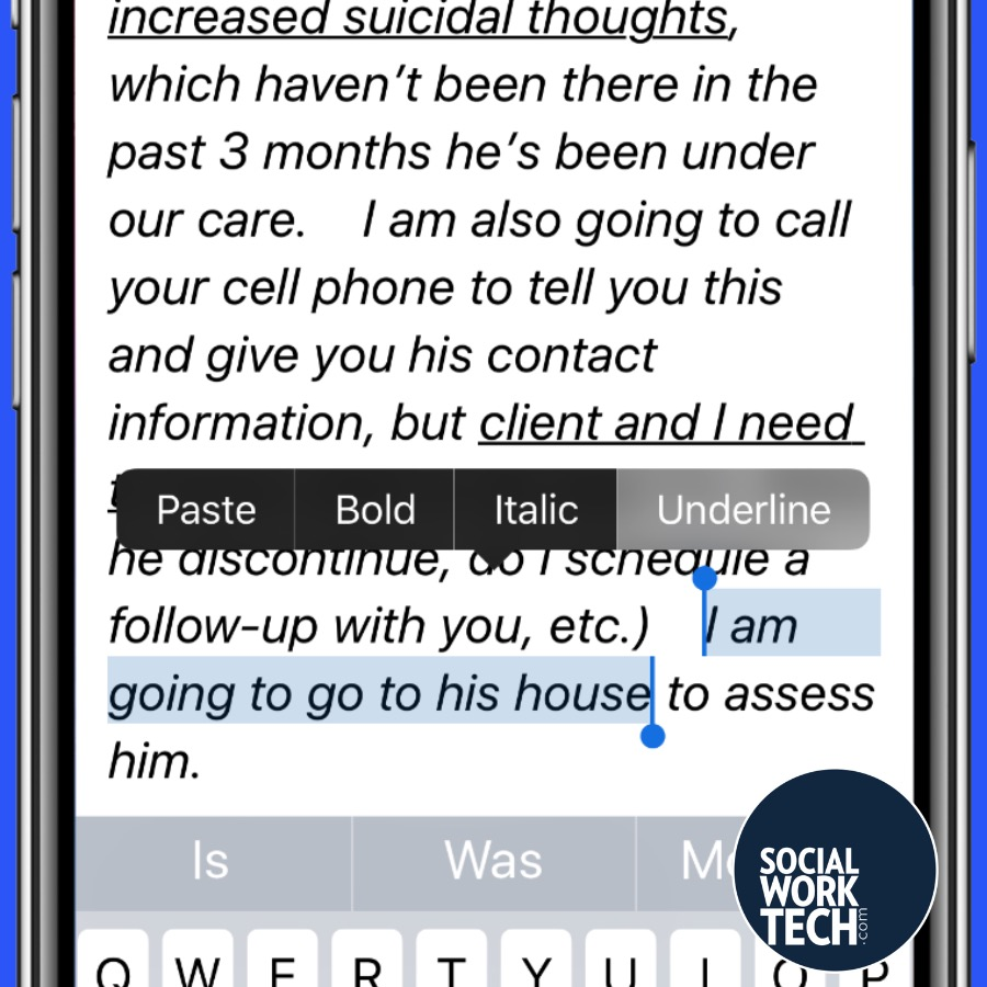 "Email Message says the message in the previous message, but with ""I am going to go to his house"" highlighted and the prompt to underline that text highlighted"