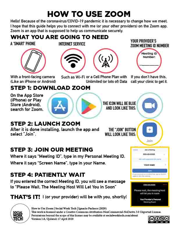 "Preview of Worksheet: ""How to Use Zoom"". Click to download readable PDF."