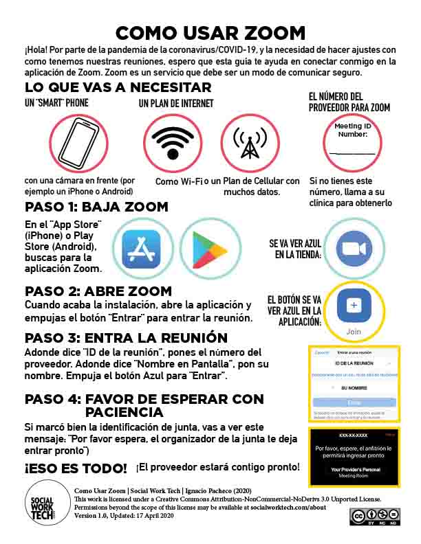 "Preview of Worksheet: ""Como Usar Zoom"" (translation to Spanish of: ""How to Use Zoom""). Click to download readable PDF."