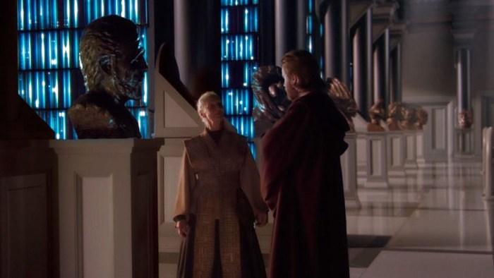 Obi-Wan e Jocasta Nu discutem sobre a saída de Dookan da Ordem