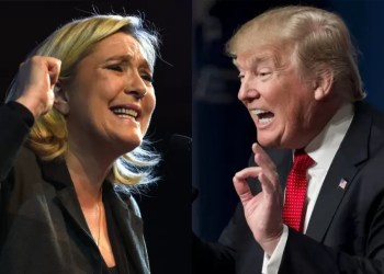 Dois líderes populistas e autoritários: Le Pen, que perdeu a eleição à presidência da França em 2017, e Trump, presidente eleito dos Estados Unidos em 2016.