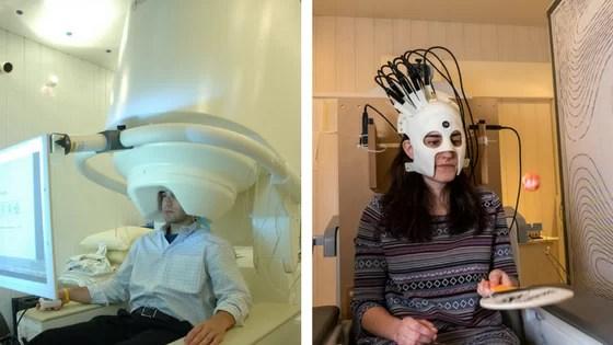 """Escanear o cérebro de alguém utilizando magnetoencefalografia (MEG) pode ser complicado. Esses aparelhos são geralmente muito grandes (foto da esquerda), com cerca de 450 kg, com pouca opção de ajustes para a cabeça e exigem que o paciente permaneça imóvel por todo o procedimento. Pensando nisso, pesquisadores da Universidade de Nottingham desenvolveram um protótipo de MEG (foto da direita - capacete impresso em 3D, pesando 905 g) que pode ser ajustado para qualquer tamanho e formato de crânio, com sensores que conseguem mensurar a eletrofisiologia do cérebro e gerar imagens em 3D de como o cérebro se comporta nas mais variadas atividades. Segundo os pesquisadores, essa tecnologia abre novas possibilidades de estudar o neurodesenvolvimento, a atividade cerebral em situações mais próximas da realidade do indivíduo e a patofisiologia de distúrbios de movimento e neuropsiquiátricos. Fotos """"National Institute of Mental Health, National Institutes of Health, Department of Health and Human Services (esquerda) / University of Nottingham (direita)"""