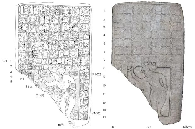 Um desenho (à esquerda) e um modelo digital 3D (à direita) de uma laje de pedra encontrada no reino recém-descoberto. (Imagem: © Stephen Houston / Universidade Brown; Charles Golden / Brandeis)