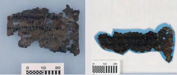 Dois fragmentos dos Pergaminho do Mar Morto da Bíblia do Museu da Bíblia mostrando uma possível linha de orifícios artificiais à direita. (Informações sobre fraudes artísticas)