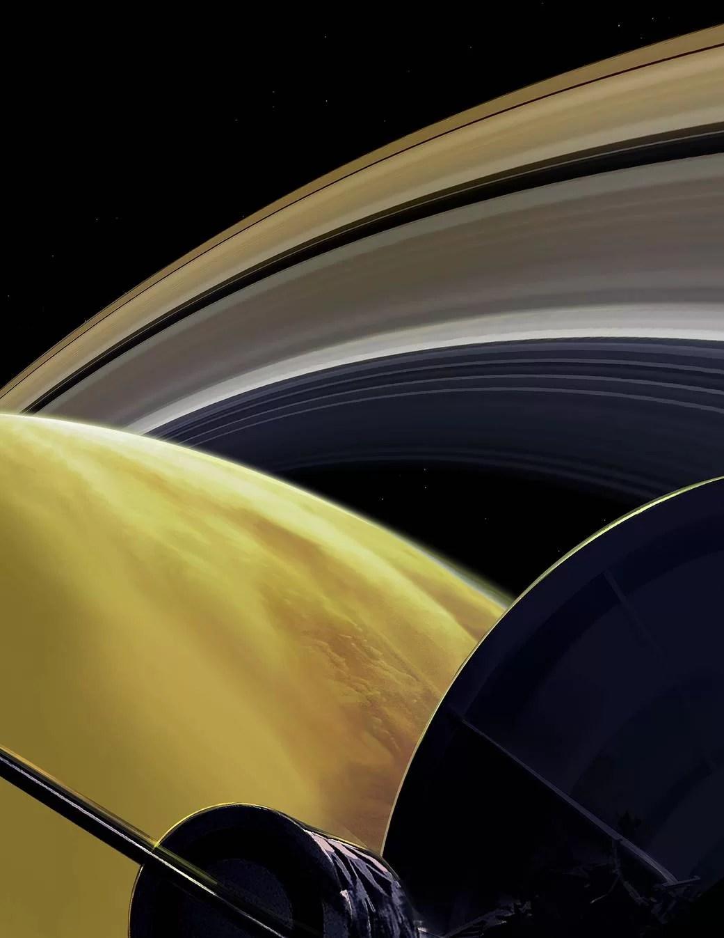 Concepção artística dos últimos momentos da Cassini. A sonda se jogou na densa atmosfera de Saturno para se autodestruir ao final da missão e não representar perigo para alguma das luas do planeta. (Créditos da imagem: NASA/JPL-Caltech)