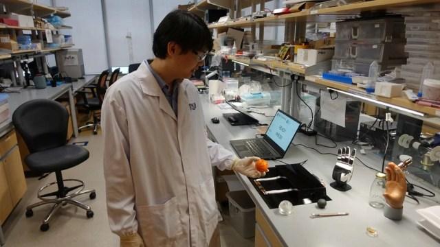 Dr. Benjamin Tee demonstra pele artificial
