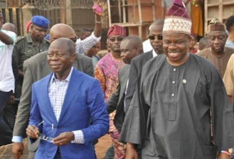 """Full Of Smiles Amosun Says """"I Don't Need To Hide Under A Finger To Fight"""" On Oshiomhole's Trouble With DSS"""
