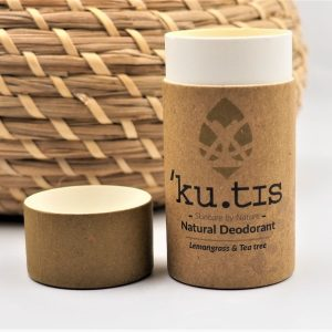 Kutis Lemongrass and Tea Tree natural deodorant compostable tube kutis deodorants society zero zero waste shop glasgow