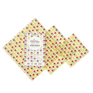 reusable beeswax food wrap tulips print