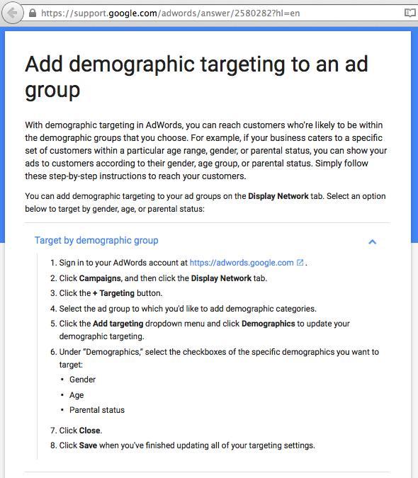 Add demographic targeting Google advertising