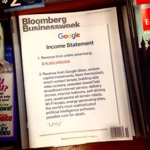 Bloomberk Businessweek issue with Google's income statement on the cover, showing the prevalence of advertising