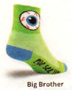 Big Eyeball on Green Sock bottom reads Eye See You