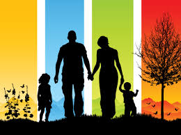Colorful Family Silhouette