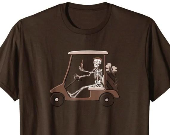Funny Skeleton Driving Golf Cart