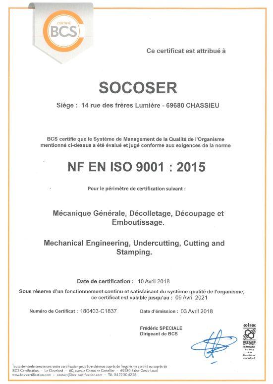 Certification ISO 9001 2015 mécanique de précision