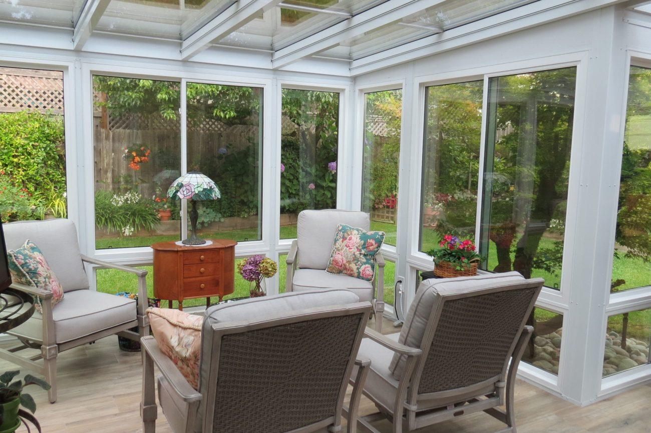 Interior straight eave sunroom
