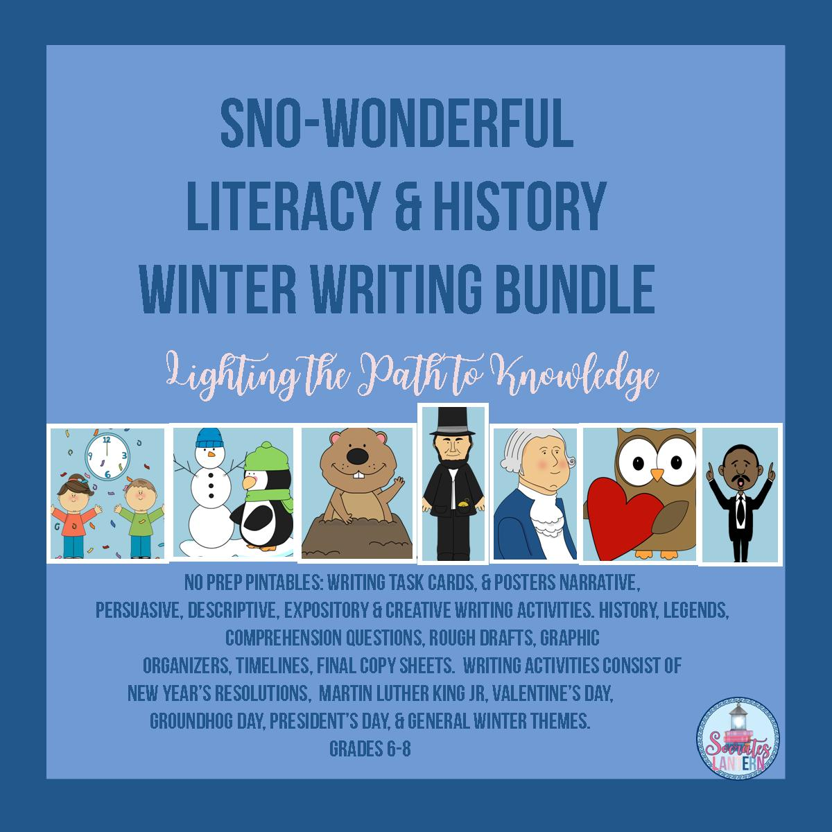 Sno Wonderful Literacy History Winter Writing Bundle Grades 6 8