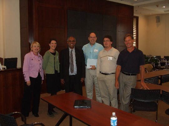 Pat, Tyler, Deb, Dick, Bobby, and Kirk represent JOMC 713 at the Open House in Chapel Hill