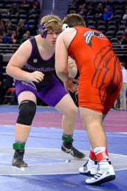 River Fox faces off in a state finals wrestling meet, however, he did not place.