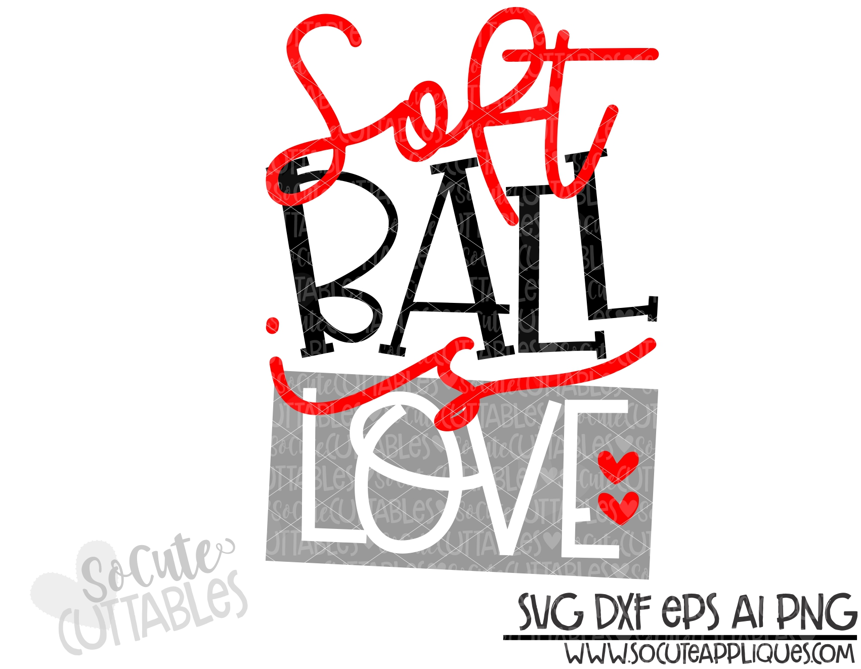 Download softball is love square 19 SCC SVG - socuteappliques.net