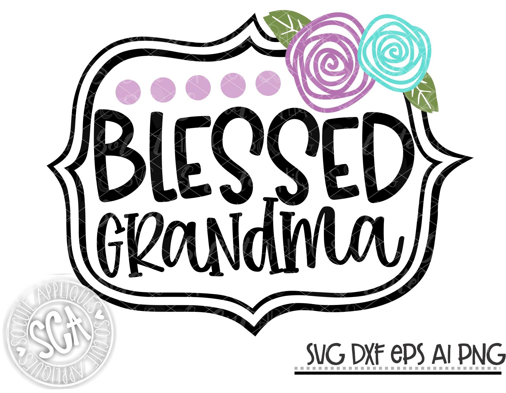 Download Blessed grandma flower frame SVG SCA 20 - socuteappliques.net