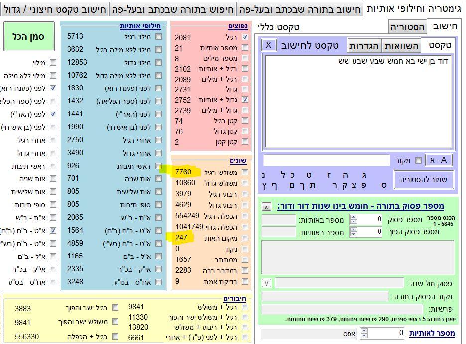 """כשנכתוב """"דוד בן ישי בא חמש שבע שבע שש"""" נקבל במשולש 7760 !!! ומיקום האות (סדרתי) 247 = רמז"""