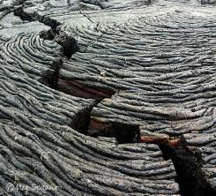 Pahoehoe lava on Santiago
