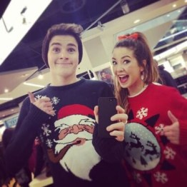 blogmas 2015, day 14, overly festive, ugly christmas jumpers, red and green, zoella and jacksgap (jack harries), santa, tumblr, pinterest