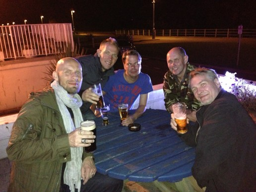 The lads having drinks on the Southcliffe's terrace.