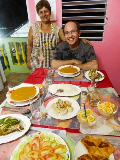 Maria makes sure Saul has enough to eat. This simple but lavish spread was typical of the casa dinners we had in Cuba.