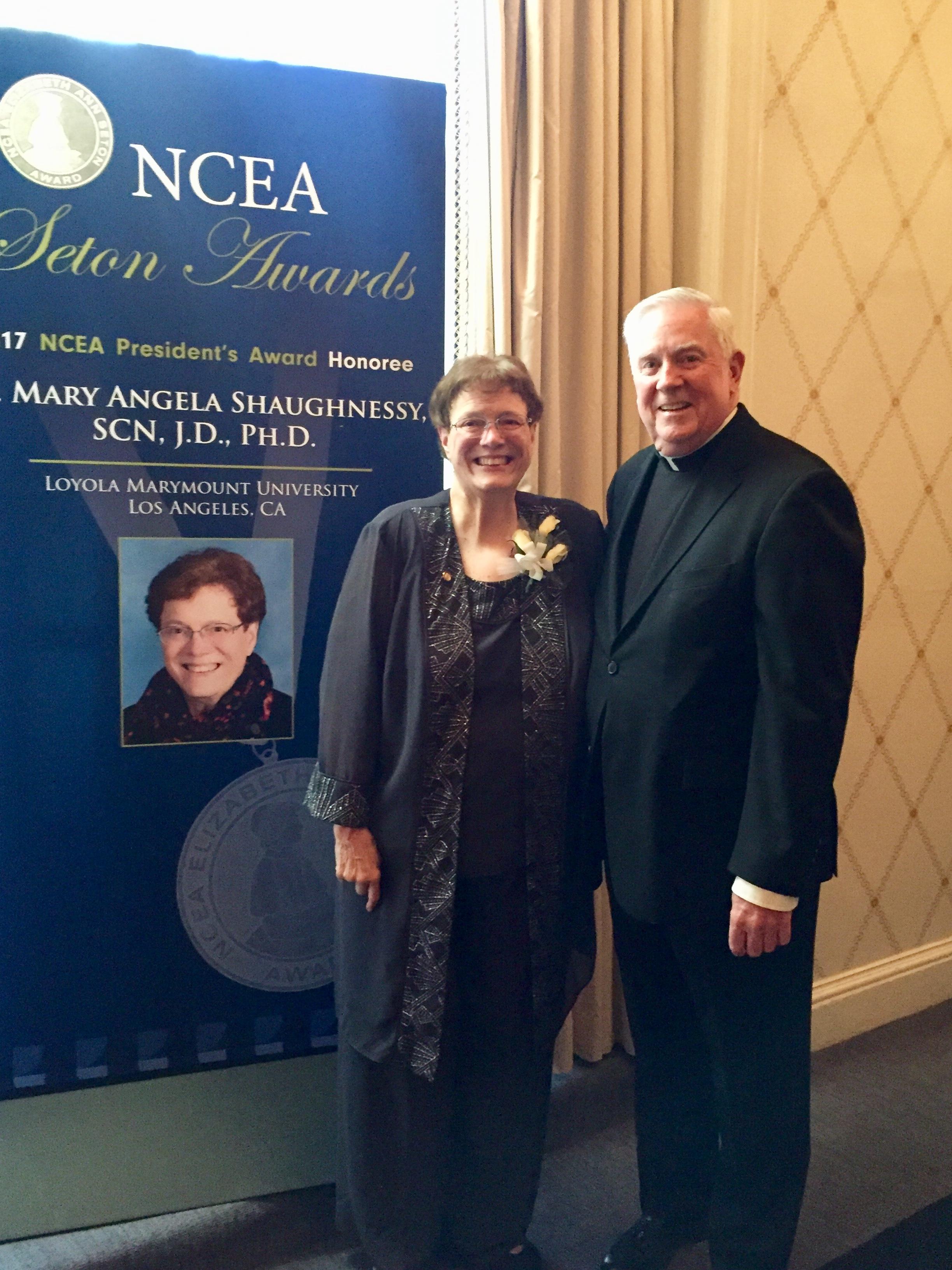 Mary Angela Shaughnessy and Shane Martin at NCEA awards