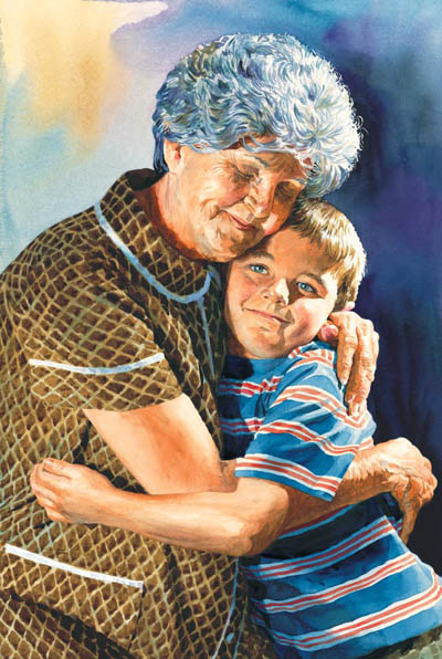 Grandma hugging boy painting courtesy soentpiet.com
