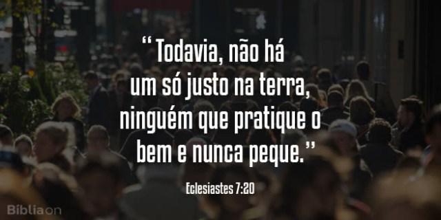 """""""Todavia, não há um só justo na terra, ninguém que pratique o bem e nunca peque."""" Eclesiastes 7:20"""