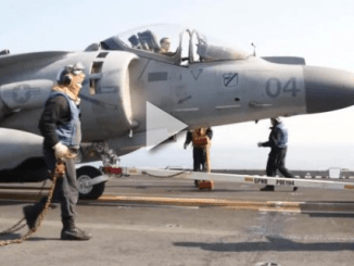Harrier Jet on Flight Deck (Photo Defense Media - Navy, Mar 15, 2016)