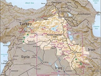 Map depicting Kurdish inhabited areas of Middle East and Iraq. (CIA map 1992).