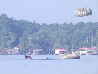 Water Jump into White Lake, North Carolina by USASOC Soldiers. (Photo from video by SSG Dillon Heyliger)
